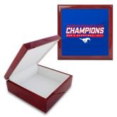 Red Mahogany Accessory Box With 6 x 6 Tile-2017 AAC Regular Season Champions - Mens Basketball Stencil
