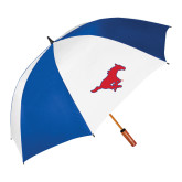 62 Inch Royal/White Umbrella-Official Outlined Logo