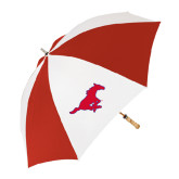 62 Inch Red/White Vented Umbrella-Official Outlined Logo