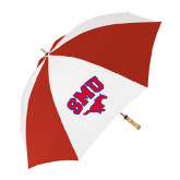 62 Inch Red/White Vented Umbrella-SMU w/Mustang