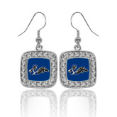 Crystal Studded Square Pendant Silver Dangle Earrings-Knight