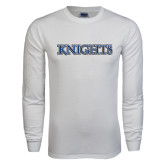 White Long Sleeve T Shirt-Knights Word Mark