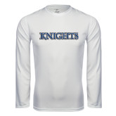 Syntrel Performance White Longsleeve Shirt-Knights Word Mark