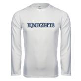 Performance White Longsleeve Shirt-Knights Word Mark