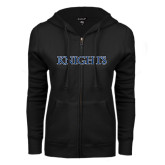 ENZA Ladies Black Fleece Full Zip Hoodie-Knights Word Mark