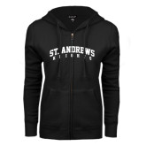 ENZA Ladies Black Fleece Full Zip Hoodie-St. Andrews Knights Arched
