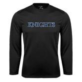 Performance Black Longsleeve Shirt-Knights Word Mark