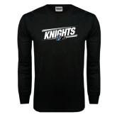 Black Long Sleeve TShirt-Knights Slanted w/ Knight