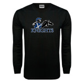 Black Long Sleeve TShirt-Primary Logo Distressed