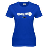 Ladies Royal T Shirt-Knights Baseball w/ Flying Ball