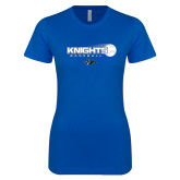 Next Level Ladies SoftStyle Junior Fitted Royal Tee-Knights Baseball w/ Flying Ball