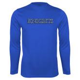 Syntrel Performance Royal Longsleeve Shirt-Knights Word Mark