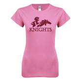 Next Level Ladies SoftStyle Junior Fitted Pink Tee-Primary Logo Hot Pink Glitter