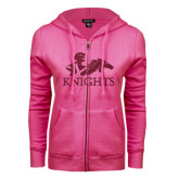 ENZA Ladies Fuchsia Fleece Full Zip Hoodie-Primary Logo Hot Pink Glitter