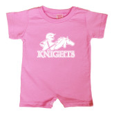 Bubble Gum Pink Infant Romper-Primary Logo