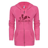 ENZA Ladies Hot Pink Light Weight Fleece Full Zip Hoodie-Primary Logo Hot Pink Glitter