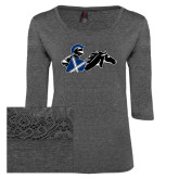 Ladies Charcoal Heather Tri Blend Lace 3/4 Sleeve Tee-Knight