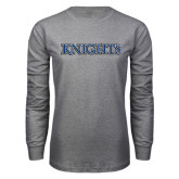 Grey Long Sleeve T Shirt-Knights Word Mark