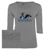 Ladies Grey Heather Tri Blend Lace 3/4 Sleeve Tee-Primary Logo