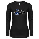 Ladies Black Long Sleeve V Neck T Shirt-Knight