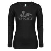 Ladies Black Long Sleeve V Neck T Shirt-Primary Logo Graphite Glitter