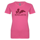 Ladies SoftStyle Junior Fitted Fuchsia Tee-Primary Logo Hot Pink Glitter