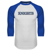 White/Royal Raglan Baseball T Shirt-Knights Word Mark