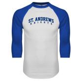 White/Royal Raglan Baseball T Shirt-St. Andrews Knights Arched