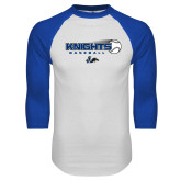 White/Royal Raglan Baseball T Shirt-Knights Baseball w/ Flying Ball