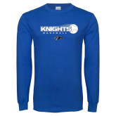 Royal Long Sleeve T Shirt-Knights Baseball w/ Flying Ball
