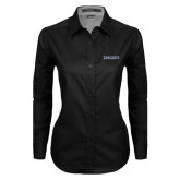 Ladies Black Twill Button Down Long Sleeve-Knights Word Mark