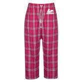 Ladies Dark Fuchsia/White Flannel Pajama Pant-Primary Logo