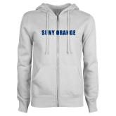 ENZA Ladies White Fleece Full Zip Hoodie-SUNY Orange Word Mark