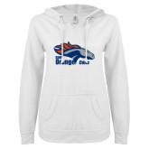 ENZA Ladies White V Notch Raw Edge Fleece Hoodie-Primary Logo