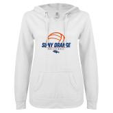 ENZA Ladies White V Notch Raw Edge Fleece Hoodie-Volleyball Design