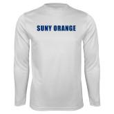 Performance White Longsleeve Shirt-SUNY Orange Word Mark