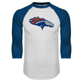 White/Royal Raglan Baseball T Shirt-SUNY Orange Colt
