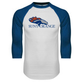 White/Royal Raglan Baseball T Shirt-SUNY Orange Colt Logo