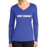 Ladies Syntrel Performance Royal Longsleeve Shirt-SUNY Orange Word Mark