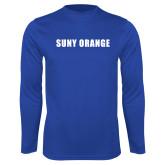 Performance Royal Longsleeve Shirt-SUNY Orange Word Mark