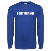 Royal Long Sleeve T Shirt-SUNY Orange Word Mark