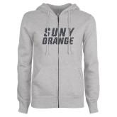 ENZA Ladies Grey Fleece Full Zip Hoodie-SUNY Orange Graphite Soft Glitter