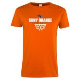 Ladies Orange T Shirt-Basketball Design