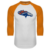 White/Orange Raglan Baseball T Shirt-SUNY Orange Colt
