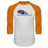 White/Orange Raglan Baseball T Shirt-SUNY Orange Colt Logo