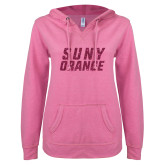ENZA Ladies Hot Pink V Notch Raw Edge Fleece Hoodie-SUNY Orange Hot Pink Glitter