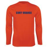 Performance Orange Longsleeve Shirt-SUNY Orange Word Mark
