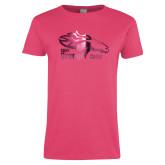 Ladies Fuchsia T Shirt-Primary Logo Foil