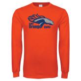 Orange Long Sleeve T Shirt-Primary Logo Distressed