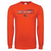 Orange Long Sleeve T Shirt-Baseball Design